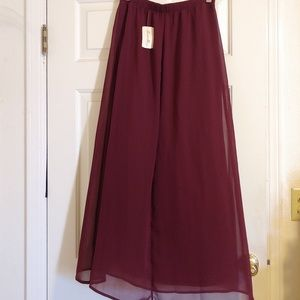 Chiffon Burgundy Maxi Skirt